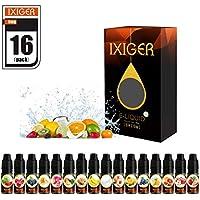 IXIGER E-líquido para Cigarrillo Electrónico 16X10ml Líquido Cigarrillo Electrónico E-shisha E-cigarrillo sin Nicotina o Tabaco(bubblegum // naranja / pomelo / sandía / piña / banana / uva / melocotón / fresa / cereza / arándano / leche / manzana / melón / galletas / mango)