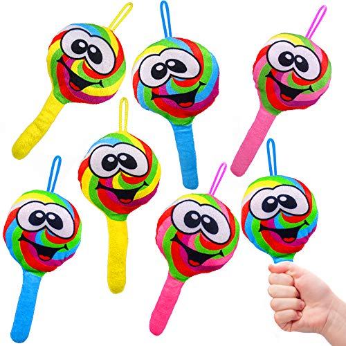 - 6 x Smiley Plüsch Lollies - Soft ┃ Mitgebsel ┃ Kindergeburtstag ┃ Regenbogen - Plush Lollipops ┃ 6 Stück ()