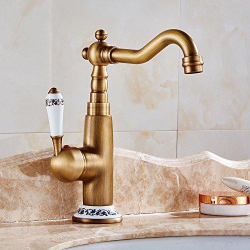 ChengSui Zubehör Messing Antik Wasserhahn Schwenkbar Badezimmer Waschbecken Mixer Kran Tippen Mit Keramik Griff Home Improvement, Antike (Badezimmer-zubehör-kit-bronze)