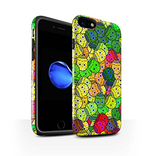 STUFF4 Glanz Harten Stoßfest Hülle / Case für Apple iPhone 8 / Schwarz Muster / Süßigkeiten Schädel Kollektion Gelb