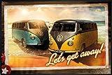 VW Camper Camper Van Poster Let's Get Away (62x93 cm) gerahmt in: Rahmen schwarz