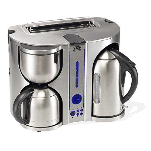Ecco de Luxe 4-in-1, Frühstücks-Center: Kaffeemaschine, Wasserkocher und Toaster, Edelstahl-gebürstet