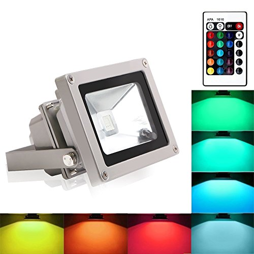 Blinngo led Scheinwerfer spotlight rgb led Strahler LED Fluter 10W flood light Outdoor Waterproof LED Spot dekoration für Garten [Energieeffizienzklasse A ++] (Dusk To Dawn Outdoor-beleuchtung-led)