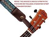 Music First Ukulelengurt, Echtleder, Kopfplatten-Adapter, für Ukulele/Banjo/akustische Gitarre/Akustik-Bass Gorilla braun