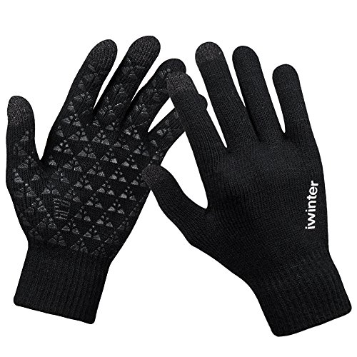 Winter Knit Gloves,Anqier Windproof Touchscreen Warm Hand Gloves for Men & Women (Women, Black)