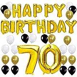 KUNGYO Happy Birthday Lettere Alfabeto Balloon+Numero 70 Mylar Foil Palloncini+24 Pezzi Oro Bianco Nero Lattice Balloons- Perfetto per Decorazioni di Festa di Compleanno di 70 Anni