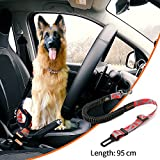 YoJetSing Adjustable Premium Dog Seat Belt For Car, Dog Car Harnesses With Bungee Buffer Dog Car Seat Belt Safety Heavy Duty Elastic Leads For Cars