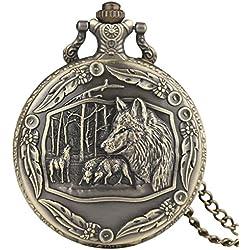 Perros/lobo/lobos con adornos frontera 3d efecto bronce envejecido/vintage caso hombres de cuarzo reloj de bolsillo collar–en 32pulgadas/80cm cadena
