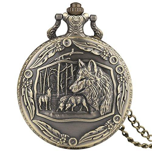 t kunstvollem Bordüre 3D Bronze Effekt Antik/Vintage Case Herren Quarz-Taschenuhr Halskette–auf 81,3cm Zoll/80cm Kette (Designer Hand Taschen)