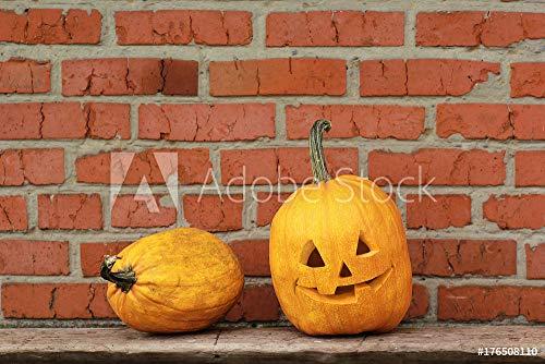 Wunschmotiv: Two pumpkins, Jack O' Lantern against grunge orange brick wall. Halloween autumn holiday symbol. Place for text. #176508110 - Bild auf Forex-Platte - 3:2 - 60 x 40 cm / 40 x 60 cm