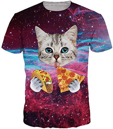 alaxy T-Shirt Sport Rundhals Spaß Motiv Tops (Größe S (Tag M), Katze mit Pizza) (Herren-lustigen Halloween-t-shirts)