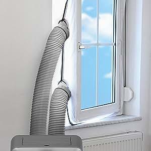 Juleya AirLock 1000 guarnizione per porta finestra | per climatizzatori ed essiccatori con scarico esterno dell'aria | Hot Air Stop, 4 metro Persiane panno morbido