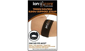 ionocore® Tennis Elbow Strap - Golf & Tennis Arm Support Brace with Targeted Compression Pad - Single Strap Fully Adjustable Forearm and Elbow Pain Relief