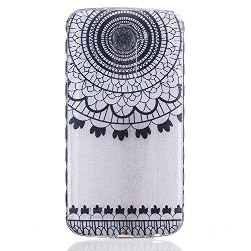 Cozy Hut Crystal Case Hülle für LG K10 aus TPU Silikon mit Alte Campanula Design - Schutzhülle Cover klar in schwarz Weiß Transparent - Schwarz Campanula