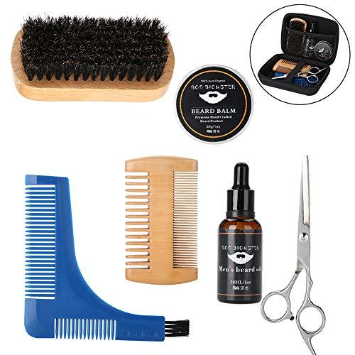 Regolabarba kit, mustache care set beard grooming kit per uomini 7 pezzi, olio da barba + balsamo barba + forbici + pettine per barba barba + spazzola + borsa da bagno