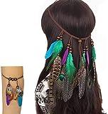 Fodattm - Juego de 2 diademas de plumas de pavo real bohemias con diadema y brazalete hippie para el pelo, hecho a mano, diseño tribal indio de plumas, accesorio para el pelo para niñas y mujeres