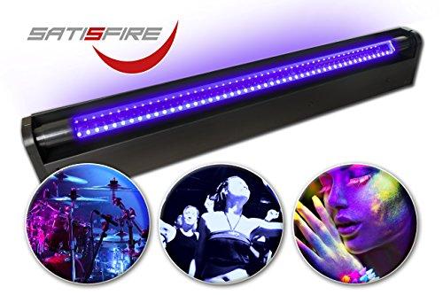 Schwarzlicht LED-UV-Röhre 60cm Komplettset   10W High Power   Lange Lebensdauer (ca. 30.000 Stunden)   Bruchsicher   wechselbare UV Röhre   Für Schwarzlichtpartys und Blacklight Veranstaltungen   SATISFIRE®