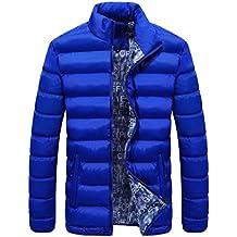 Abrigos de Hombres Invierno Plumas, LILICAT Chaqueta de Parka Cálida y Gruesa, Cazadoras con Cremallera Casual Stand Cuello (3XL, Cielo Azul)