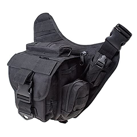 S-ZONE Polyester 600D Molle sac epaule tactique sac bandouliere militaire sac paquet centure Voyage Camera argent