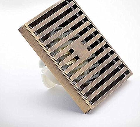 KHSKX Mode ultra dünne Sanduhr, gebürstet Antik Kupfer Deodorant Quadrat Verschiebung Bodenablauf