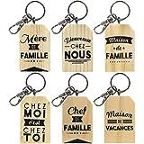 Promobo - Ensemble 6 Porte Clés Collection Famille En Bois