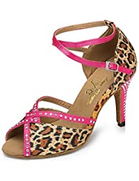 Dance Shoes FJY&WX Latino Semicuero Zapatilla Recortado Tacón Stiletto Leopardo Personalizables, us7.5/eu38/uk5.5...