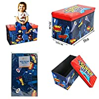 Folding Kids Childrens Room Tidy Toy Storage Box With Lid Chest Organizer Multi-Colour Padded Seat Bench Stool (Super Hero )