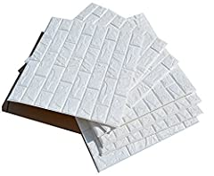 Idea Regalo - 3D bianchi adesivi di muro di mattoni di imitazione,DIY carta da parati decorativa autoadesiva impermeabile 60x60cm (10 PCS)