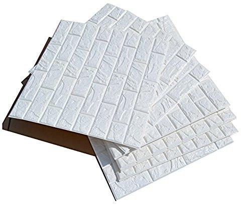 3d bianchi adesivi di muro di mattoni di imitazione,diy carta da parati decorativa autoadesiva impermeabile 60x60cm (20 pcs)