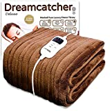 Dreamcatcher Luxury Fleece Heated Washable Electric Blanket Throw, Cream Chocolate Brown, Extra Large 200 x 130cm Overblanket, Timer, 9 Control Settings …