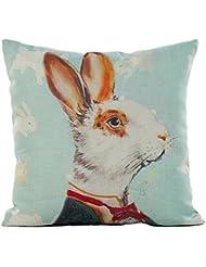"""Funda de almohada, hmlai de San Valentín Día conejo impresión lino almohada sofá cintura Throw Cojín Decoración del hogar, 18""""x18"""", A"""