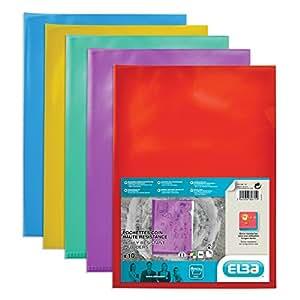 Elba 10 Pochettes-coin Haute Résistance A4 en PVC Translucide Couleurs Assorties