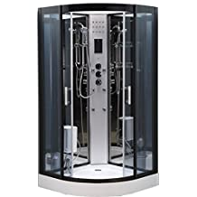 Cabina de ducha con hidromasaje Fiordaliso, 90 x 90cm, con luz en el interior, cabina de ducha completa opcional, modelo de lujo con radio