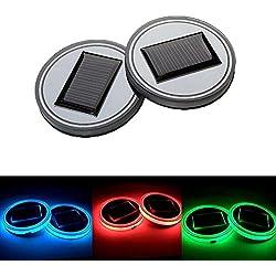 Onerbuy Satz von 2, Solar LED Auto Schalen Halter Matten Auflage wasserdichte Flaschen-Getränk-Untersetzer Eingebaute helle und Erschütterungs Sensor Auto Innendekoration Licht Lampe (Bunt)