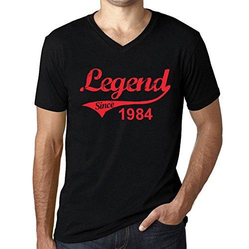 Herren Tee Männer Vintage V neck T shirt 1984 Noir Schwarz Roter Text (1984 Schwarzen T-shirt)