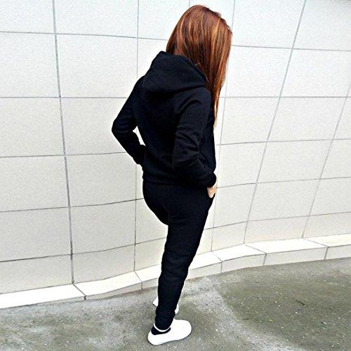 787bf3d9307e Sport Tuta Donna Ginnastica Pullover Inverno Manica Lunga Elegante Felpa  con Cappuccio + Sport Fitness Jogging Pantaloni