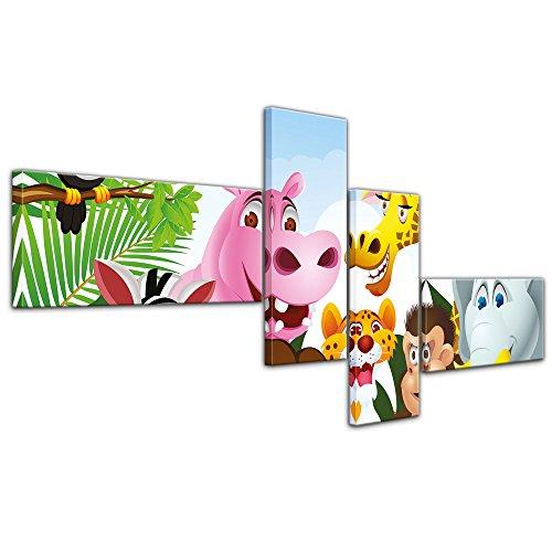 """Bilderdepot24 Cuadros en Lienzo """"Animales de la selva de los niños imágenes de dibujos animados"""" 200x90 cm 4tlg - listo tensa, directamente desde el fabricante"""