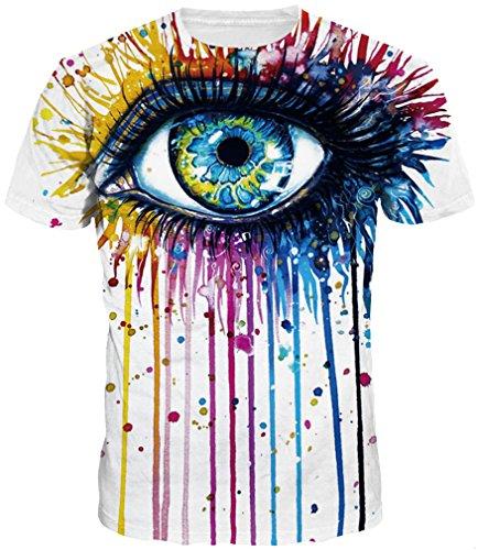 Polyester Auge (TDOLAH Herren Bunt Galaxy T-Shirt Sport Rundhals Spaß Motiv Tops (Größe M (Tag L), Bunt Auge))