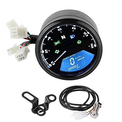 Qiilu Universal Motorrad LCD Digital Display Tachometer Tachometer Kraftstoff Meter Gauge Kraftstoff Meter