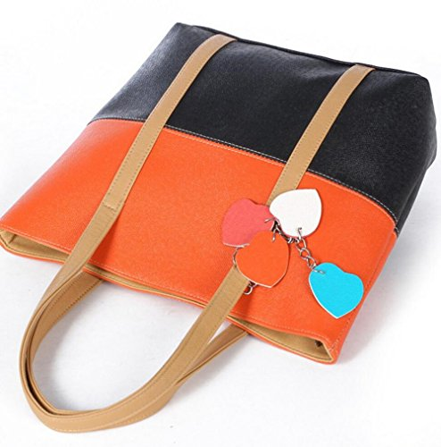PU Leder Shopper Damen Tasche Handtasche Schultasche Umhängetasche schwarz