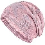 Compagno Sternen Wintermütze warm gefütterte Beanie Flechtmuster Einheitsgröße Mütze, Farbe:Rose