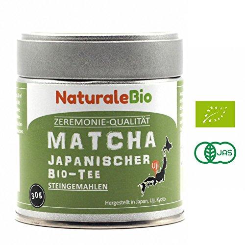 Matcha-Tee-Pulver-Bio [ Ceremonial Grade ] Original Green Tea aus Japan | Grüntee-Pulver Matcha Zeremonie-Qualität | Tee hergestellt in Japan Uji, Kyoto | Ideal zum Trinken, Kochen und in der Latte | 30 g Dose | NATURALEBIO®