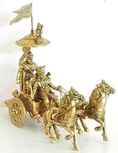 Krishna and Arjuna on Chariot During Kurukshetra War - Brass