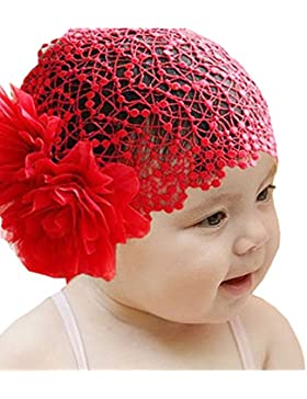 Minetom Bambina Bimba Cerimonia Moda fascia Headwear Crochet Hat Hairband con fiori e pizzi Archetto