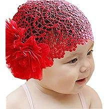 ... capelli neonata cerimonia. Minetom Bambina Bimba Cerimonia Moda fascia  Headwear Crochet Hat Hairband con fiori e pizzi Archetto 43ed1d6d515a