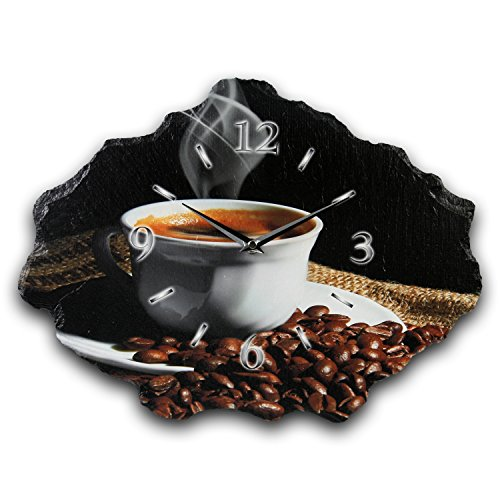 Kreative Feder Kaffee Luxus Designer Wanduhr Funkuhr aus Schiefer *Made in Germany leise ohne Ticken WS211FL