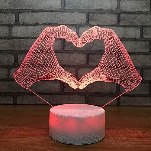 Beliebte 7 Farbwechsel 3D Nachtlicht Herzförmigen Gesten Führte Kreative Schreibtischlampe Haus Romantische Atmosphäre Leuchte Geschenk