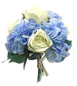 Mano Cravatta Bounquet di Fiori di Seta Artificiale con Ortensia 4 Teste e 5 Teste di Rosa, Sposa Matrimonio (Ortensia blu + rosa bianca, confezione da 1)