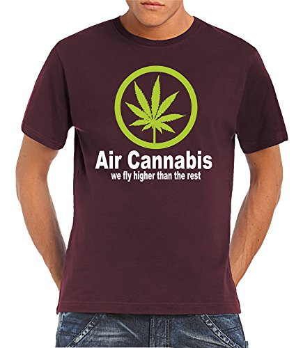 touchlines-t-shirt-a-manches-avec-inscription-air-cannabis-we-fly-higher-than-the-rest-rouge-l