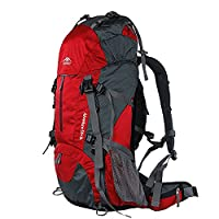 Topsky Outdoor Sports Waterproof Camping Hiking Climbing Backpack Daypacks 40L 50L 60L Unisex Travel Back Packs Trekking Rucksack (Red, 60L)